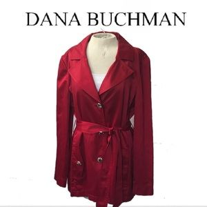 Dana Buchman Solid Red Short Trench Coat Sz. XL